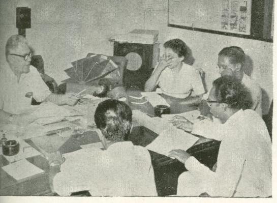 Vernon Corea at a meeting with Clifford Dodd, Director Commercial Service of Radio Ceylon