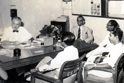 Vernon Corea with Clifford Dodd and Livy Wijemanne at Radio Ceylon in 1957