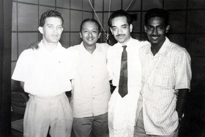 The legendary broadcaster Vernon Corea (second from left) at Radio Ceylon in 1958.