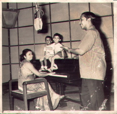 Vernon Corea of Radio Ceylon with his family in a studio in the 1960s.
