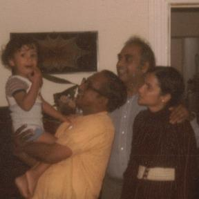 Vernon Corea with Nimal Mendis and family in the 1980s in Wimbledon Village.