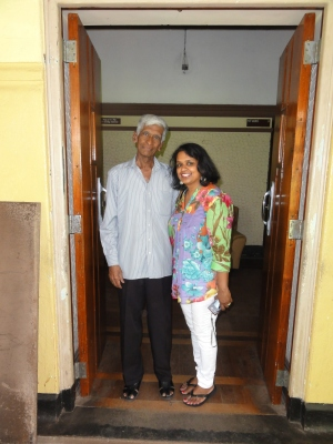 Veteran SLBC Broadcaster Harold Fernando and Ouida Corea Wickramaratne, daughter of Vernon Corea at the Sri Lanka Broadcasting Corporation in Colombo
