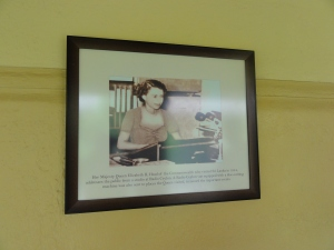 Her Majesty Queen Elizabeth II broadcasts from Radio Ceylon on her first ever visit to the island of Sri Lanka in 1954 - a historic photograph hangs on the wall of the Sri Lanka Broadcasting Corporation in Colombo
