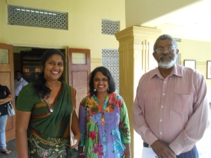 Ouida Corea Wickramaratne with staff at the Sri Lanka Broadcasting Corporation - top SLBC Producer Indira Priyadarshini Nawagamuwa and the Director of the English Services, Yusuf Noordeen.