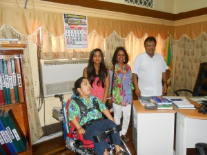 Ouida Corea Wickramaratne, daughter of Sri Lankan broadcasting legend Vernon Corea and her family with the Chairman of the Sri Lanka Broadcasting Corporation Mr. Hudson Samarasinghe in July 2013 in the Chairman's Office. Vernon knew Hudson very well since the 1970s. Hudson Samarasinghe was a regular visitor to Vernon Corea's BBC Office at The Langham in London.