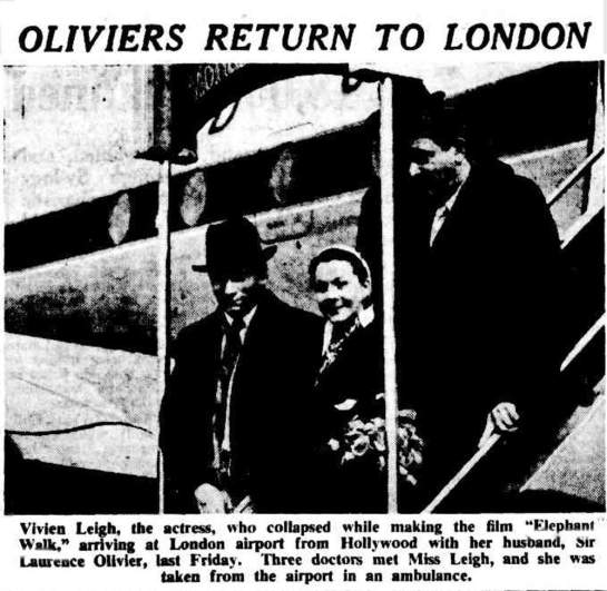 The Oliviers return to London from Ceylon.