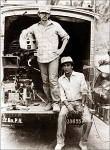 Director Steven Spielberg and Production supervisor Chandran Rutnam on location in Sri Lanka during the filming of Indiana Jones and the Temple of Doom starring Harrison Ford and Kate Capshaw, a Lucasfilm UK production and a Paramount Pictures release.