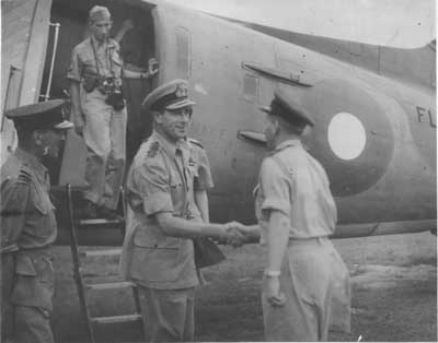 Lord Louis Mountbatten moved his base to Ceylon in April 1944, here Liord Mountbatten arrives at the RAF Base in Koggala, Sri Lanka during World War II.