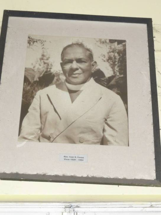 A Portrait of Reverend Canon Ivan Corea, father to Vernon and Ernest hangs in the church hall of St.Luke's Church Borella.