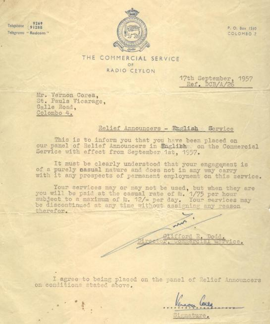 Clifford Dodd's letter of appointment - a historic document from Radio Ceylon appointing Vernon Corea to the Commercial Service as an Announcer in 1957.