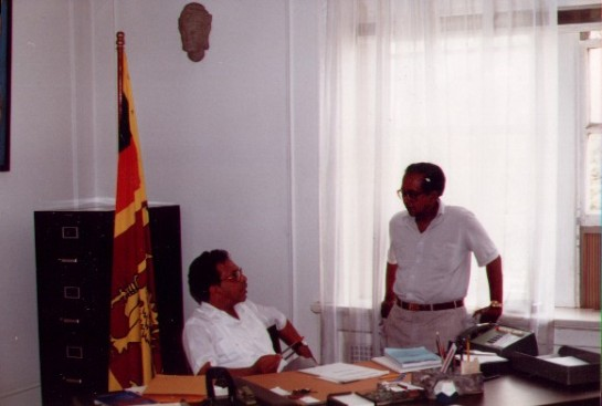 Ernest Corea was Sri Lanka's Ambassador to the United States of America in the 1980s. He is pictured here with his brother, broadcaster Vernon Corea in Washington DC.
