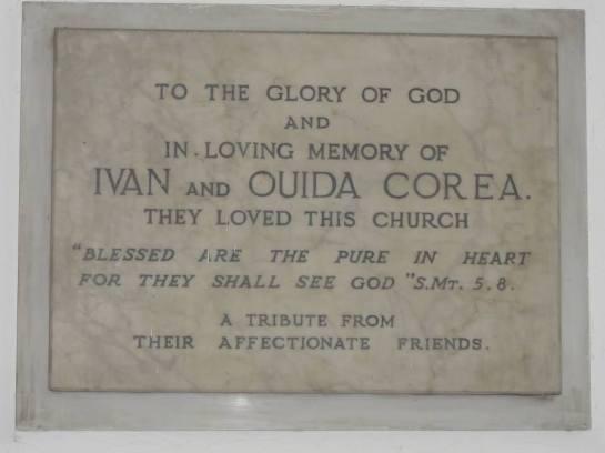 The Plaque in memory of Reverend Canon Ivan and  Ouida Corea near the altar at St. Luke's Church Borella.