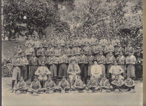Lord Baden Powell founder of the worldwide Scout Movement visited Ceylon in 1921 when Edward Harper was in Colombo. The picture shows Lord Baden Powell in Kandy.