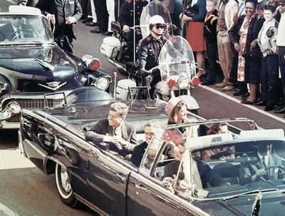President John F.Kennedy in the Dallas motorcade.