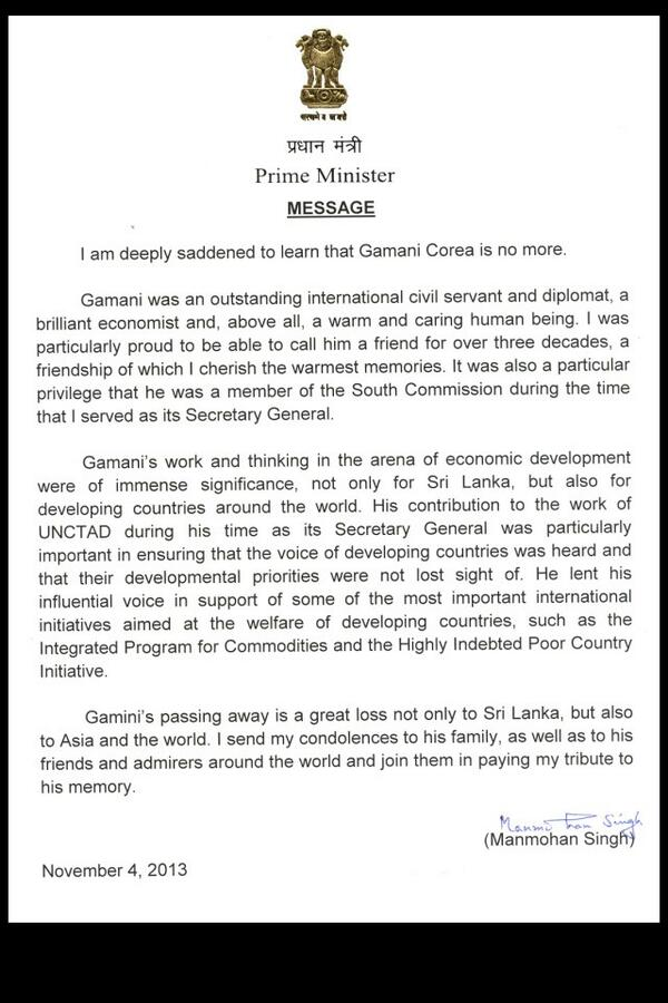 Condolence Letter From The Prime Minister Of India  Vernon Corea