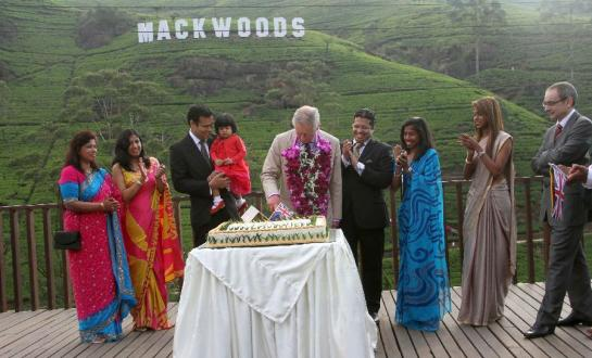 His Royal Highness Prince Charles, the Prince of Wales, Sri Lanka's High Commissioner in the UK Dr. Chris Nonis and others at the Mackwoods Labookellie Tea Estate in Kandy during his visit to Sri Lanka.