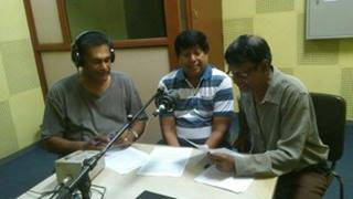 Top Sri Lankan Broadcaster Nihal Bhareti (on the right of this picture), will interview music star Rukshan Karunanayake on the historic Sinhala song for autism, 'Mamath Eka Malak,' over the airwaves of the Sri Lanka Broadcasting Corporation in Colombo.