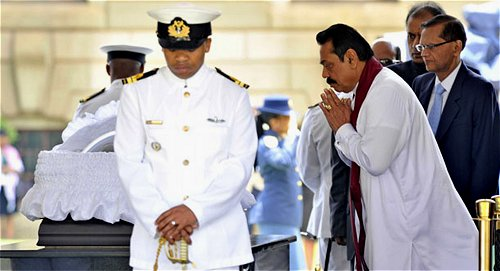 President Mahinda Rajapse of Sri Lanka, Chair in Office of the Commonwealth at the funeral of Nelson Mandela.
