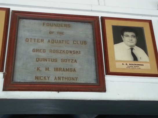 A photograph of Radio Ceylon broadcaster Greg Roszkowski hangs in the Otter Aquatic Club in Colombo, Sri Lanka.