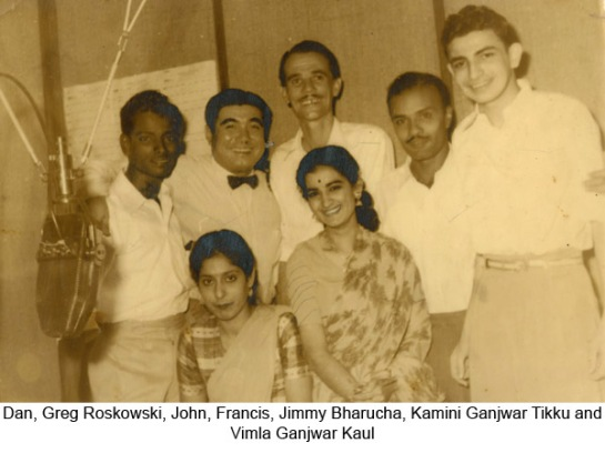 Greg Roszkowski is pictured here second from left with Radio Ceylon announcers in the 1960s.