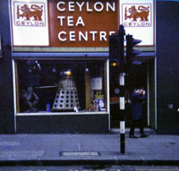 A Dalek exhibition at the Ceylon Tea Centre in Lower Regent Street in London in 1972. Vernon Corea first visited the Tea Centre in 1970.