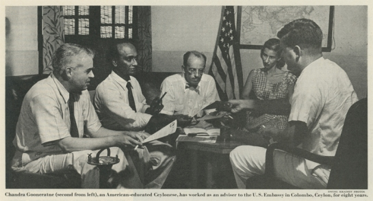 Chandra Dharma Sena Gooneratne worked as an advisor in the old US Embassy on Galle Road, Colombo-3 in Ceylon in the 1950s and 1960s.  Photograph courtesy of the South Asian American Digital Archive.