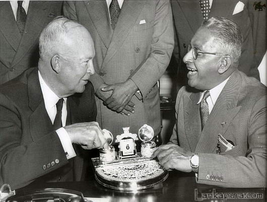 US President Eisenhower with the Prime Minister of Ceylon, Sir John Kotelawala at the White House in Washington DC in 1954.Photograph courtesy of Lankapura.Com website.
