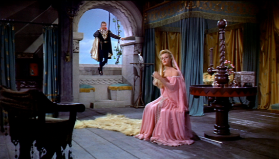 Sir John Kotelawala, Prime Minister of Ceylon saw the filming of 'The Court Jester' and met Danny Kaye, Angela Lansbury and Cecil Parker on the set during his visit to Hollywood in 1954.