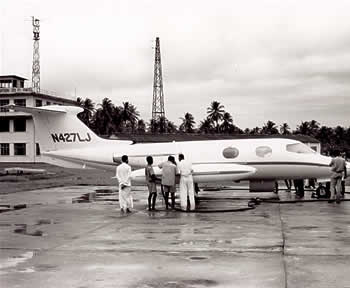 The Lear Jet 24 at Colombo Airport in Ceylon, now Sri Lanka in 1966. (Photograph courtesy of the Learjet Corporation)