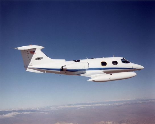 A Learjet 24 business jet similar to the aircraft that stopped over at Colombo Airport in 1966.