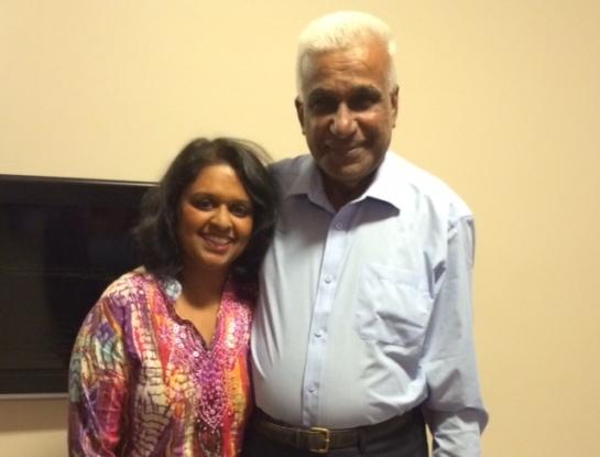 Ouida Corea Wickramaratne, daughter of Vernon Corea with the veteran  Tamil announcer of Radio Ceylon/Sri Lanka Broadcasting Corporation,  Kailayar Sellanainar Sivakumaran in Colombo Sri Lanka. Siva knew Vernon very well.