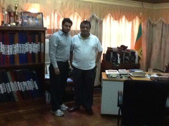 Chrismarlon Perera of the Radio Ceylon Facebook Group with the Chairman of the Sri Lanka Broadcasting Corporation Hudson Samarasinghe.
