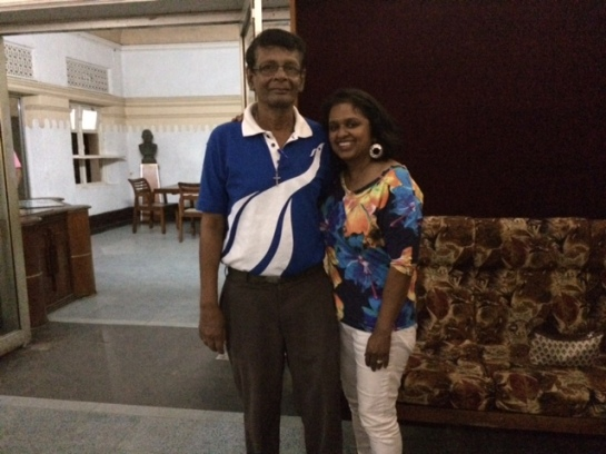 Ouida Corea Wickramaratne, daughter of Sri Lankan broadcaster Vernon Corea here with the veteran SLBC broadcaster Nihal Bhareti. Vernon Corea mentored Nihal Bhareti.