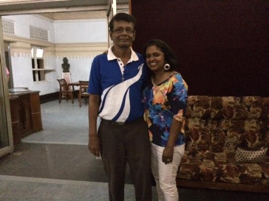 Ouida Corea Wickramaratne, daughter of Sri Lankan broadcaster Vernon Corea here with the veteran SLBC broadcaster Nihal Bhareti. Vernon Corea mentored Nihal Bhareti.