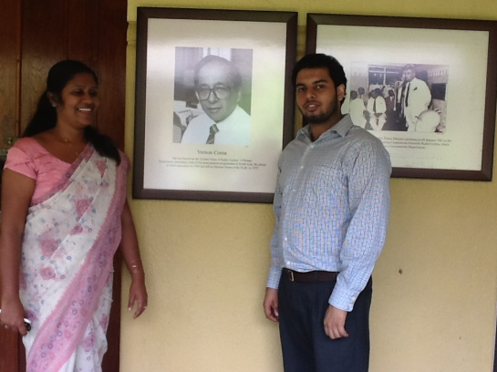 Sri Lanka Broadcasting Corporation radio producer One of Sri Lanka's top radio producers Indira Priyadarshini Nawagamuwa with Chrismarlon Perera of the Radio Ceylon Facebook Group.