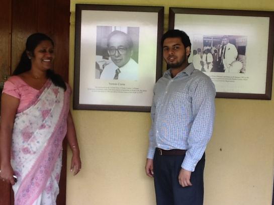 Sri Lanka Broadcasting Corporation radio producer One of Sri Lanka's top radio producers Indira Priyadarshini Nawagamuwa with Chrismarlon Perera of the Radio Ceylon Facebook Group.