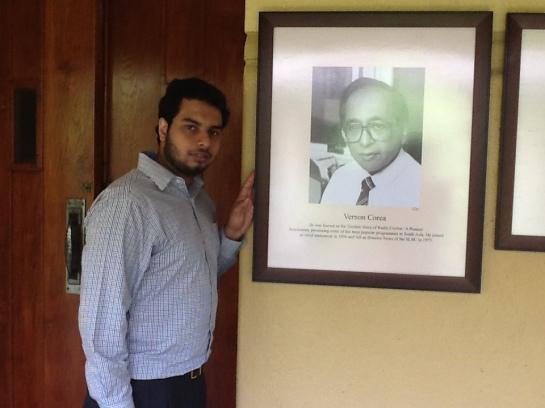 Chrismarlon Perera of the Radio Ceylon Facebook Group with the framed picture of the pioneering broadcaster of Radio Ceylon/Sri Lanka Broadcasting Corporation, Vernon Corea.