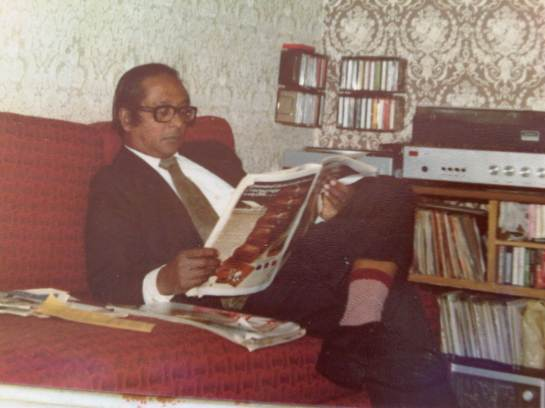 Broadcaster Vernon Corea at Radio Worldwide in Harold Road Upper Norwood in South East London in 1976.