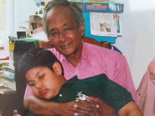 BBC Ethnic Minorities Adviser Vernon Corea with his grandson Charin Corea on his 75th Birthday in Surrey UK in 2002.