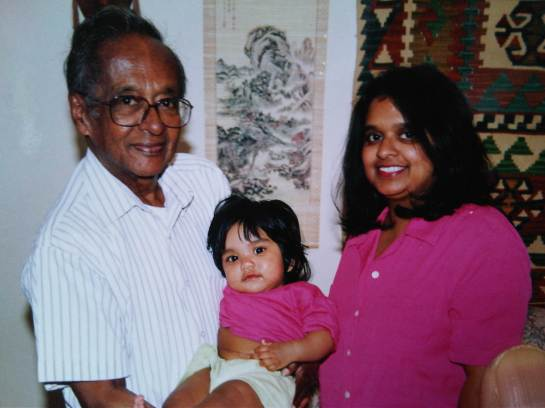 Broadcaster Vernon Corea with his grand daughter Rachel Wickramaratne and daughter Ouida Corea Wickramaratne in Surrey UK.