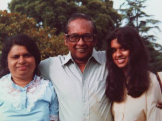 Vernon Corea with his wife Monica Corea and daughter Ouida Corea Wickramaratne at Ashburnham in the United Kingdom.