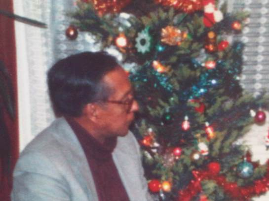 Vernon Corea at Christmas time in Essex in the United Kingdom in the 1990s.