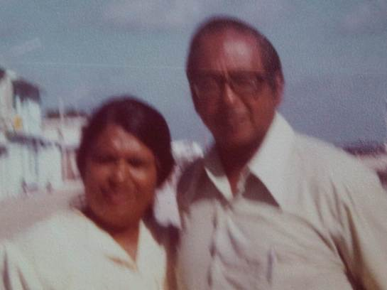 Vernon Corea with his wife Monica Corea in Male the capital of the Maldives. Vernon Corea trained broadcasters from the Maldives.