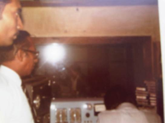 BBC Ethnic Minorities Adviser Vernon Corea in a studio at the Voice of Maldives - the state radio station in the 1980s. The Voice of Maldives began broadcasting in 1962.