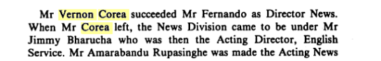 Reference to Vernon Corea in 'Broadcasting in Sri Lanka.' (Courtesy of Google books)