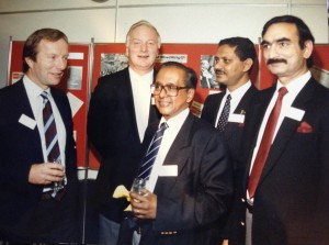 Legendary Broadcaster Vernon Corea (third from left) here representing the British Broadcasting Corporation at an event in the UK. Vernon was the BBC's first ever Ethnic Minorities Adviser and Presenter of 'London Sounds Eastern' over the airwaves of BBC Radio London.