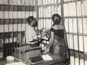 Vernon Corea chooses a record by Satchmo, Louis Armstrong from the Radio Ceylon/Sri Lanka Broadcasting Corporation record library to play on one of his iconic radio programmes over the airwaves of the radio station in the 1960s.