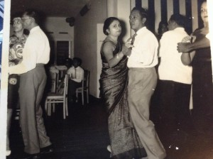 Vernon Corea of Radio Ceylon/Sri Lanka Broadcasting Corporation here on the dance floor with his wife Monica Corea - Vernon Corea was the Chief Guest at an event in Colombo, Sri Lanka in the 1960s.
