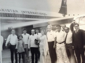 Vernon Corea (Second from right) with the Chairman and Director-General of the Sri Lanka Broadcasting Corporation Ridgeway Tillekeratne in 1974 at the Bandaranaike International Airport in Katunayake in Sri Lanka.