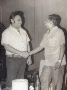 Vernon Corea of Radio Ceylon/SLBC with a radio guest.